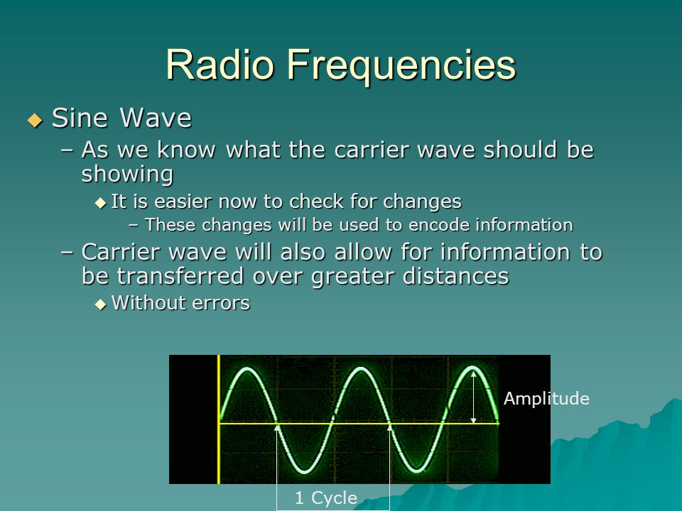 Radio Frequencies  Sine Wave –As we know what the carrier wave should be showing  It is easier now to check for changes –These changes will be used to encode information –Carrier wave will also allow for information to be transferred over greater distances  Without errors 1 Cycle Amplitude
