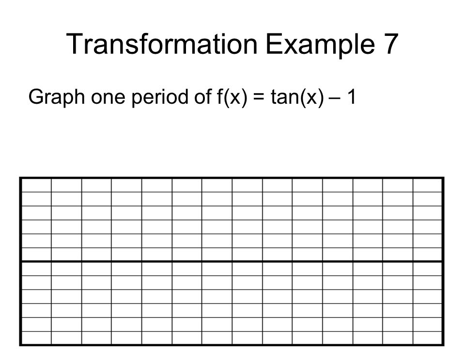 Transformation Example 7 Graph one period of f(x) = tan(x) – 1