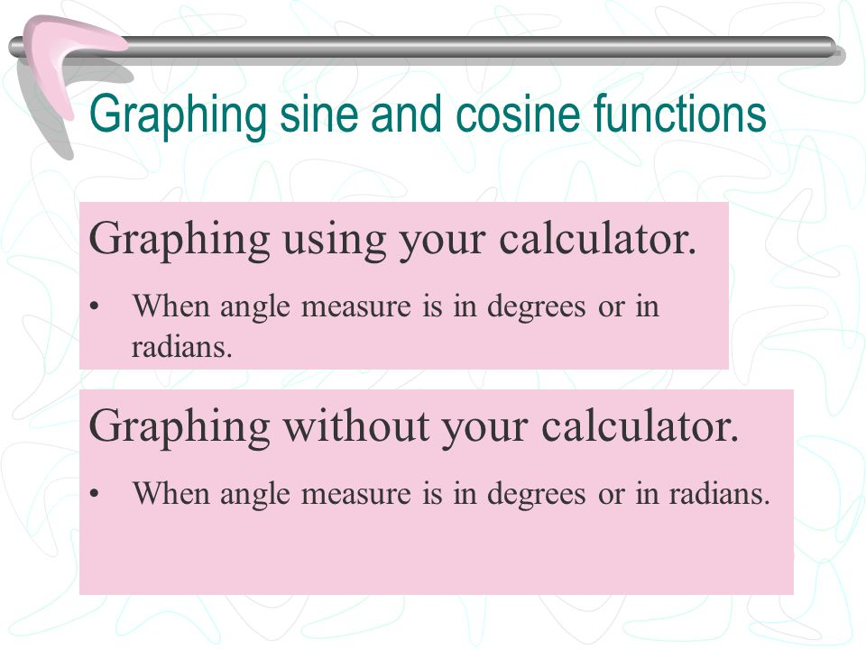 Graphing sine and cosine functions Graphing using your calculator. When angle measure is in degrees or in radians. Graphing without your calculator. W