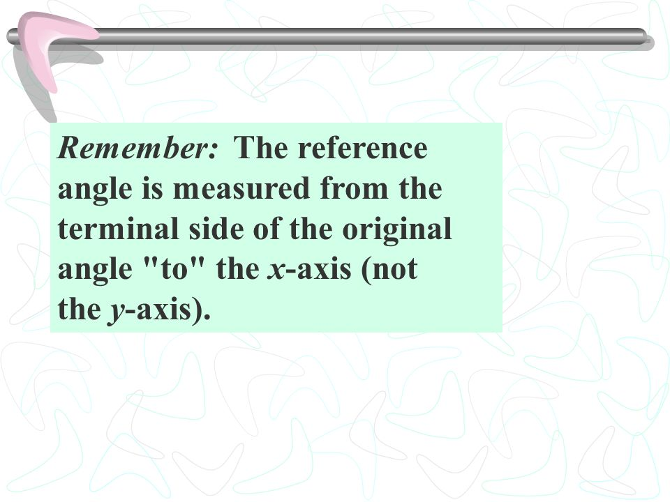 Remember: The reference angle is measured from the terminal side of the original angle