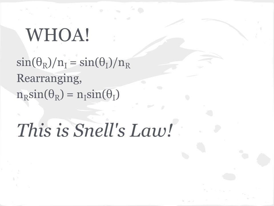 WHOA! sin(θ R )/n I = sin(θ I )/n R Rearranging, n R sin(θ R ) = n I sin(θ I ) This is Snell s Law!