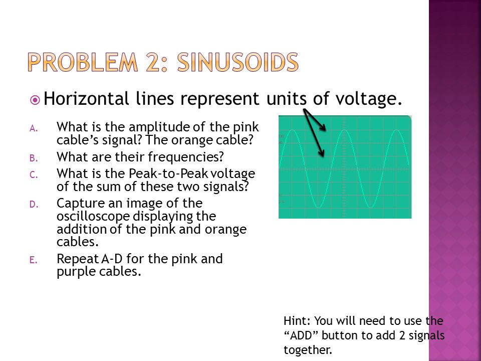  Horizontal lines represent units of voltage. A. What is the amplitude of the pink cable's signal? The orange cable? B. What are their frequencies? C