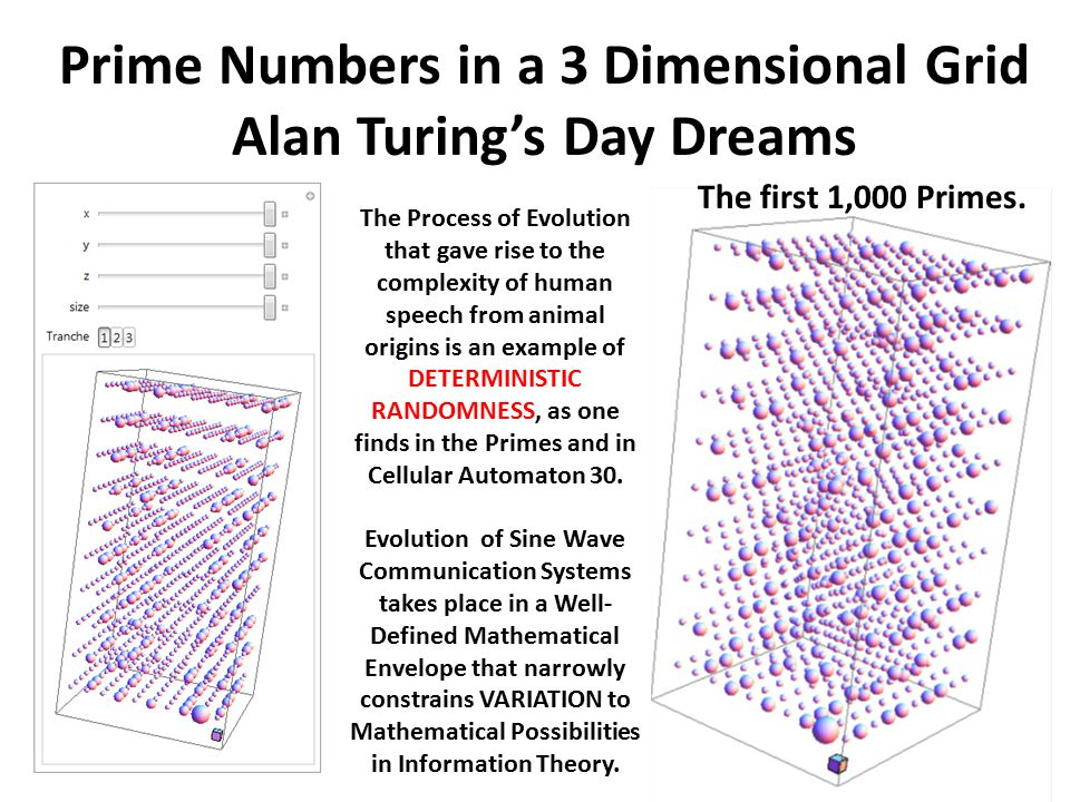 Prime Numbers in a 3 Dimensional Grid Alan Turing's Day Dreams The Process of Evolution that gave rise to the complexity of human speech from animal origins is an example of DETERMINISTIC RANDOMNESS, as one finds in the Primes and in Cellular Automaton 30.