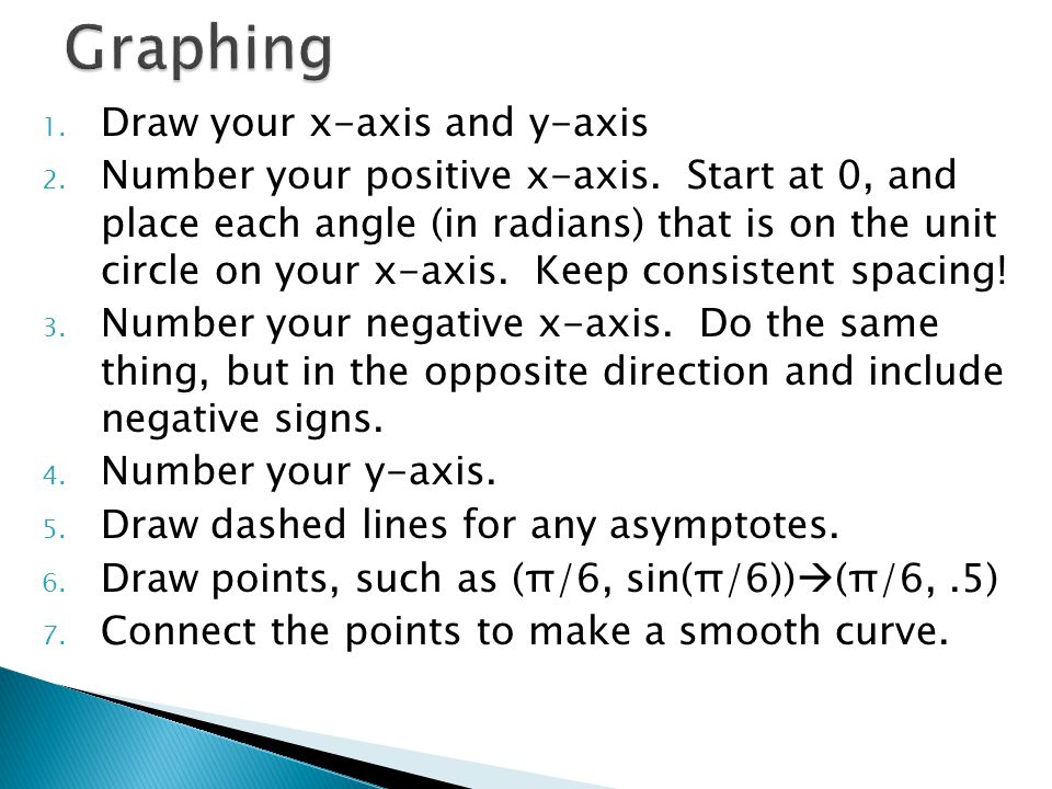 1. Draw your x-axis and y-axis 2. Number your positive x-axis.