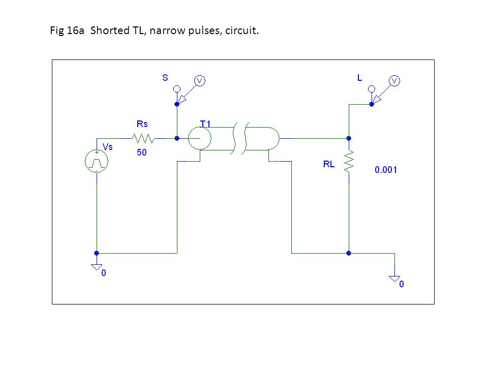 Fig 16a Shorted TL, narrow pulses, circuit.