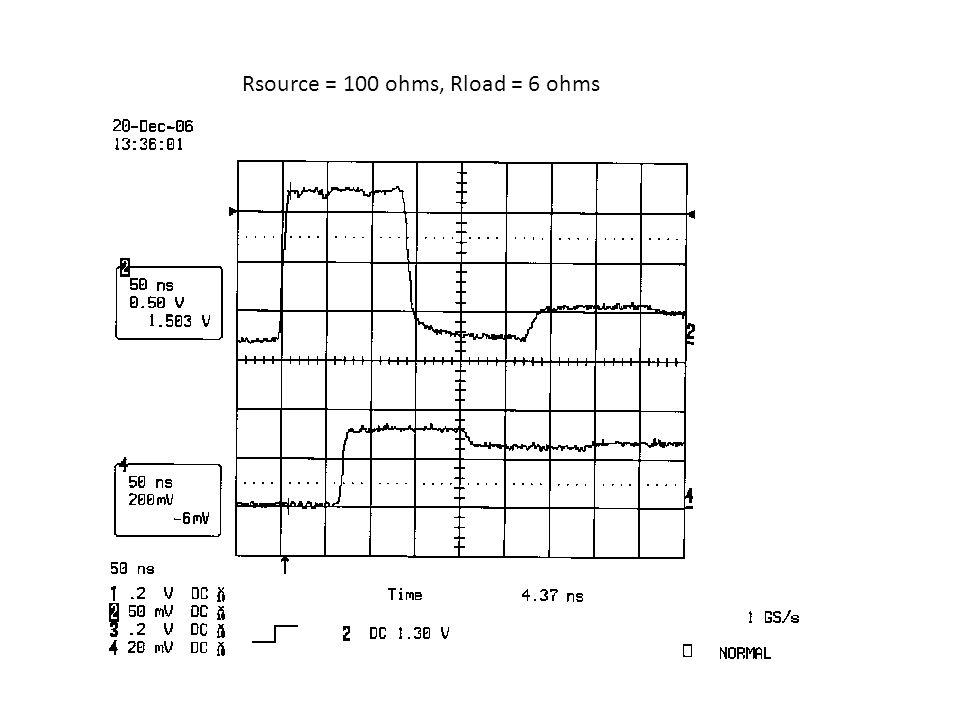 Rsource = 100 ohms, Rload = 6 ohms
