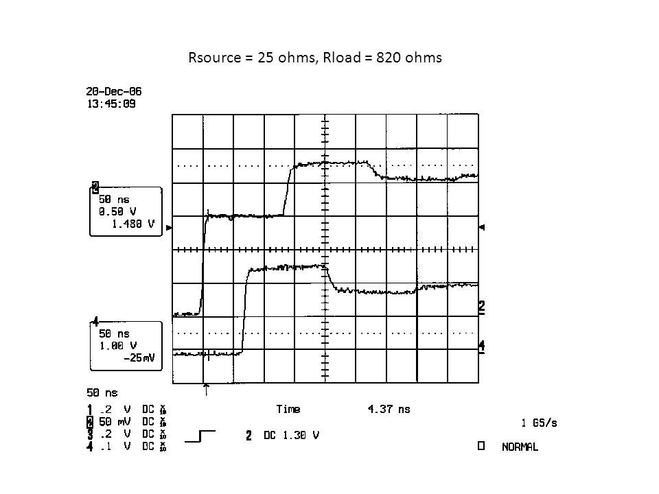 Rsource = 25 ohms, Rload = 820 ohms