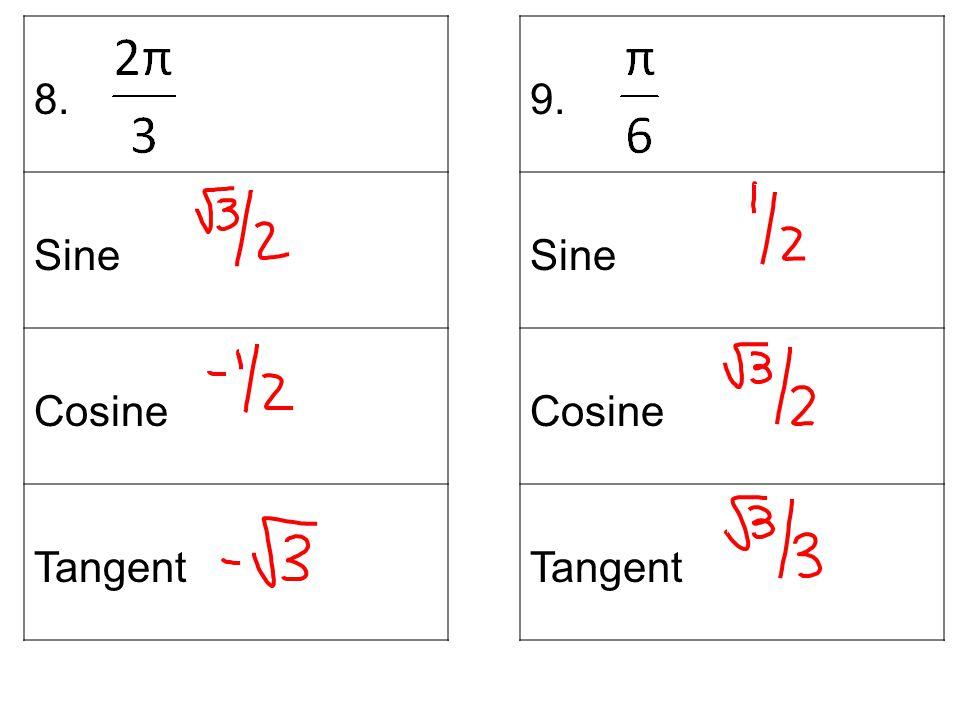 8. Sine Cosine Tangent 9. Sine Cosine Tangent