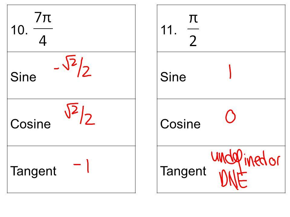 10. Sine Cosine Tangent 11. Sine Cosine Tangent