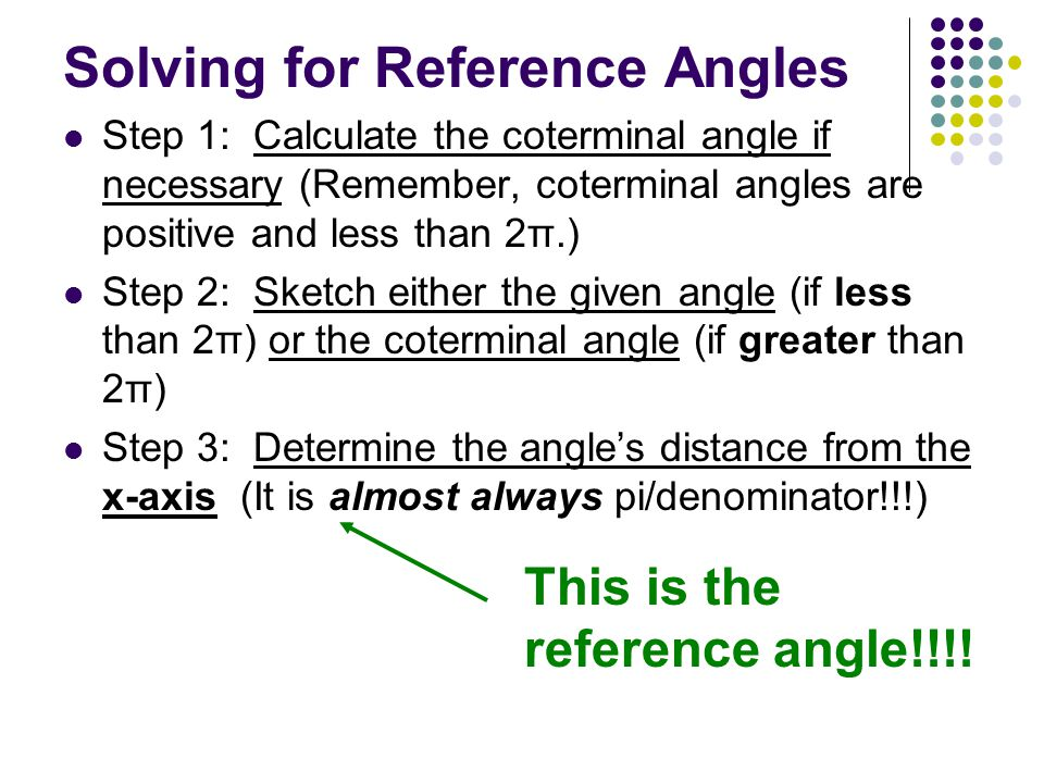Solving for Reference Angles Step 1: Calculate the coterminal angle if necessary (Remember, coterminal angles are positive and less than 2π.) Step 2: