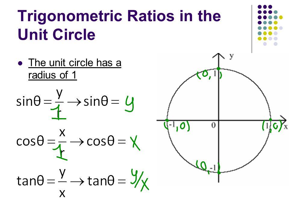 Trigonometric Ratios in the Unit Circle The unit circle has a radius of 1