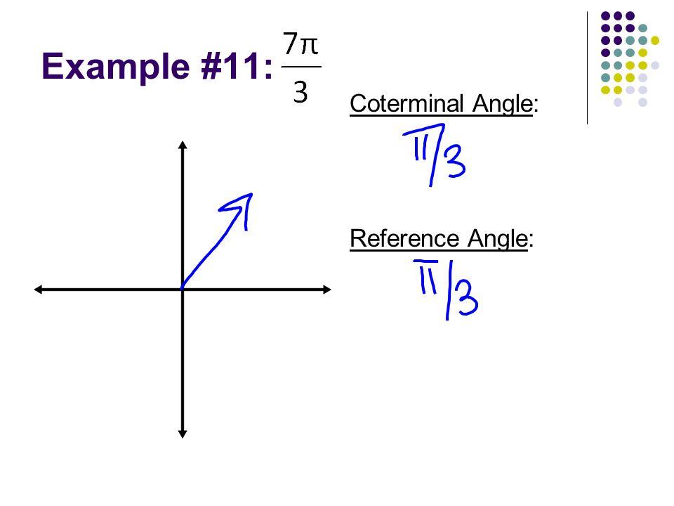 Example #11: Reference Angle: Coterminal Angle: