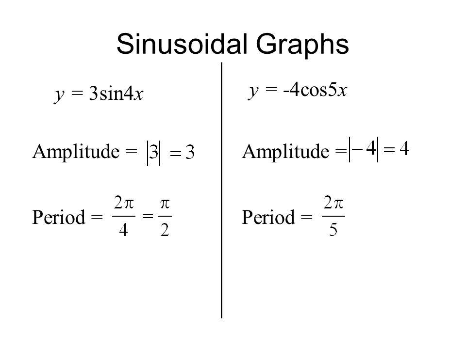Sinusoidal Graphs y = 3sin4x Amplitude = Period = y = -4cos5x Amplitude = Period =