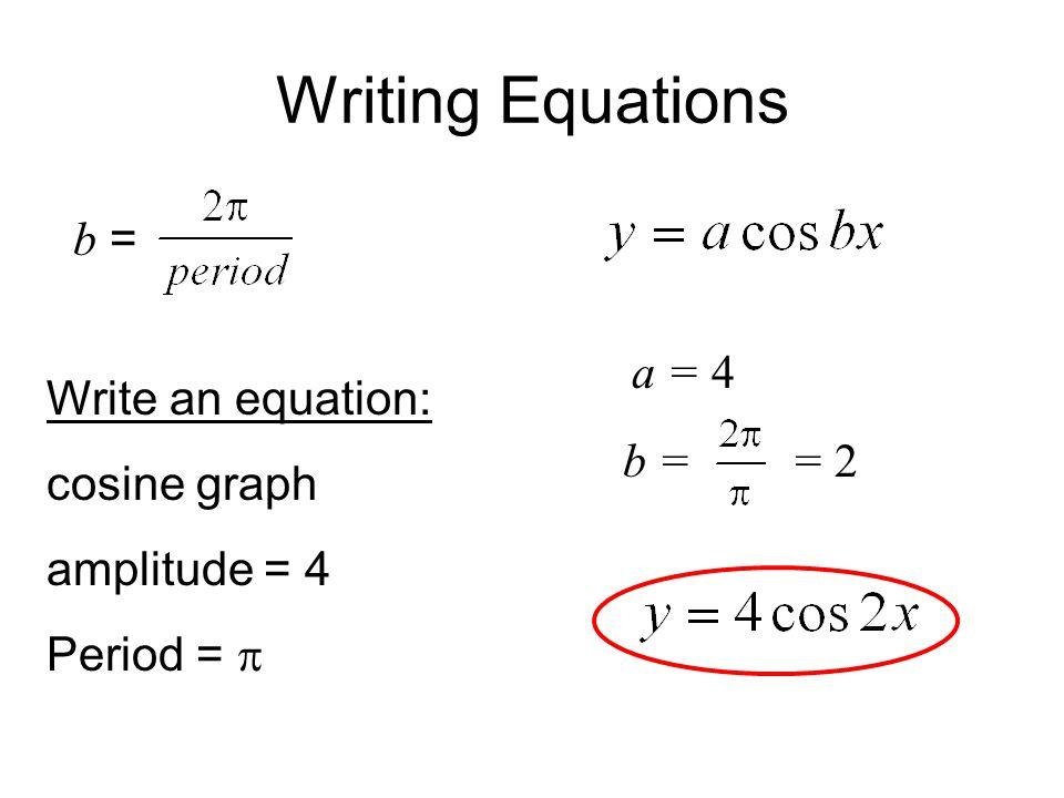 Writing Equations b = Write an equation: cosine graph amplitude = 4 Period =  a =4 b == 2