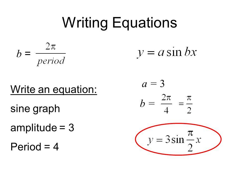 Writing Equations b = Write an equation: sine graph amplitude = 3 Period = 4 a =3 b =