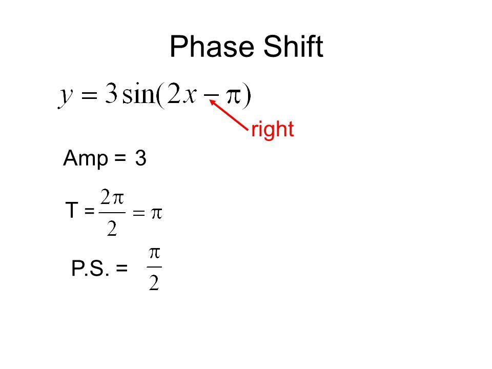 Amp =3 T = P.S. = right