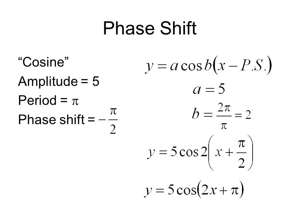 Phase Shift Cosine Amplitude = 5 Period =  Phase shift =