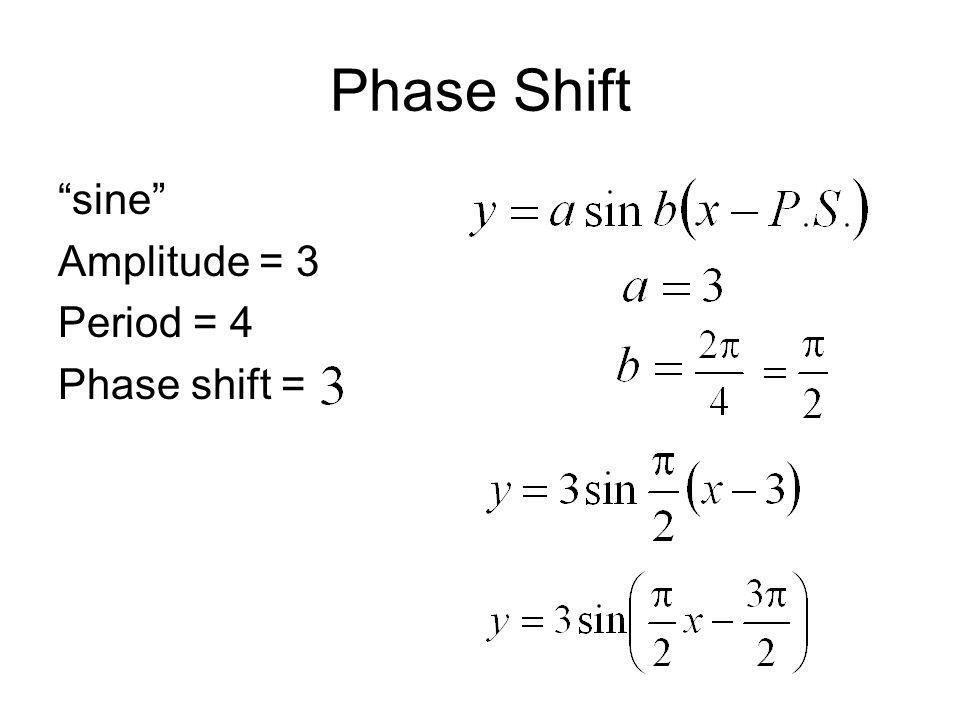 Phase Shift sine Amplitude = 3 Period = 4 Phase shift =
