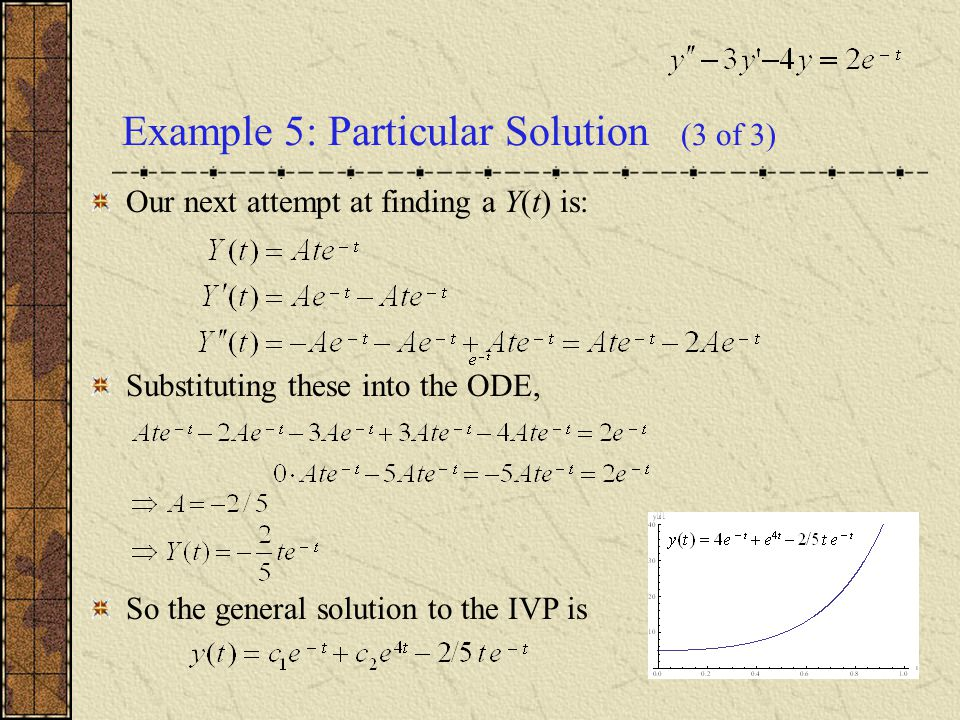 Example 5: Particular Solution (3 of 3) Our next attempt at finding a Y(t) is: Substituting these into the ODE, So the general solution to the IVP is