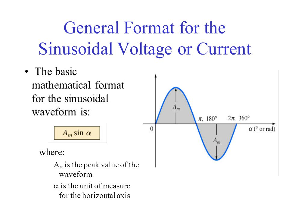 General Format for the Sinusoidal Voltage or Current The basic mathematical format for the sinusoidal waveform is: where: A m is the peak value of the