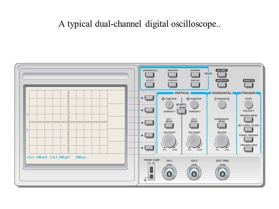 A typical dual-channel digital oscilloscope..