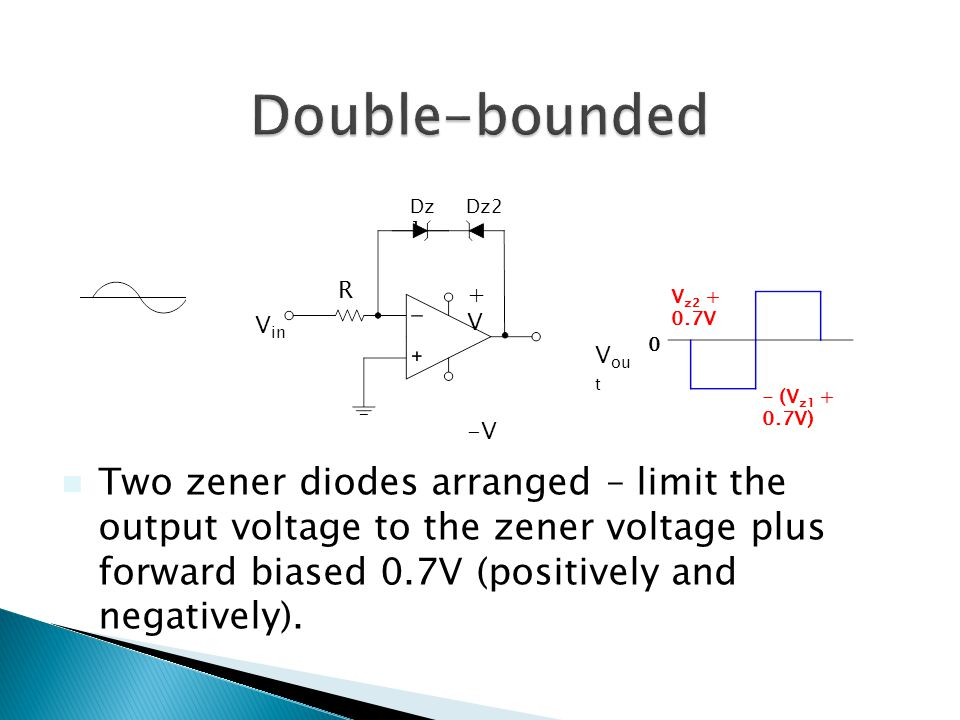 Dz 1 R +V+V -V V in V ou t Dz2 V z2 + 0.7V - (V z1 + 0.7V) 0 Two zener diodes arranged – limit the output voltage to the zener voltage plus forward biased 0.7V (positively and negatively).