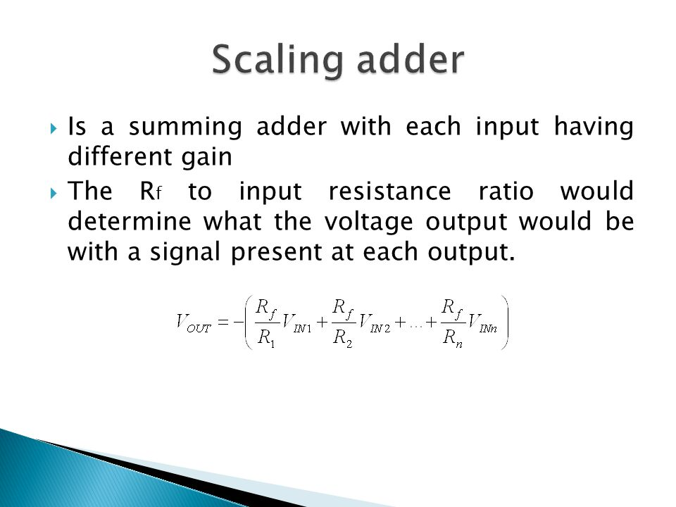  Is a summing adder with each input having different gain  The R f to input resistance ratio would determine what the voltage output would be with a signal present at each output.