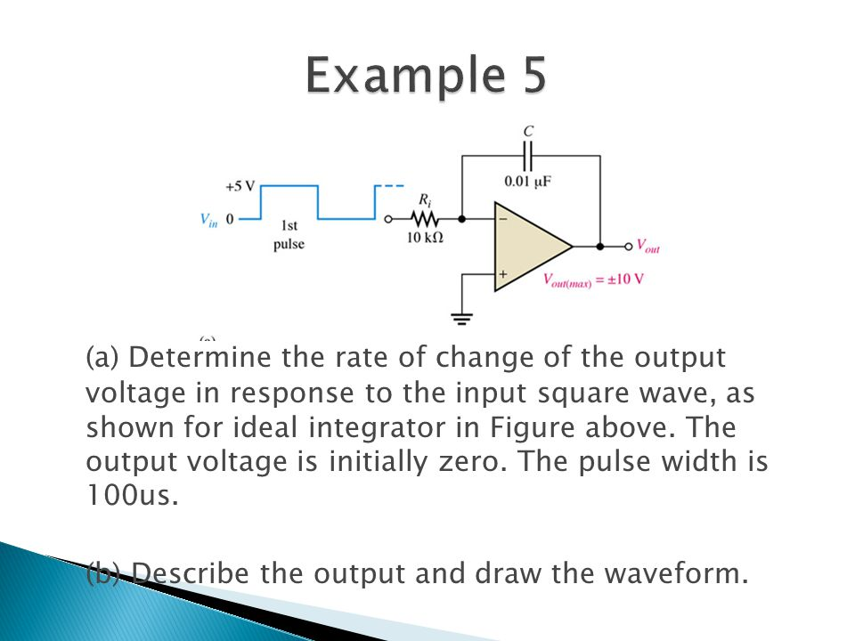 (a) Determine the rate of change of the output voltage in response to the input square wave, as shown for ideal integrator in Figure above.