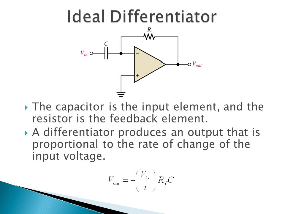  The capacitor is the input element, and the resistor is the feedback element.