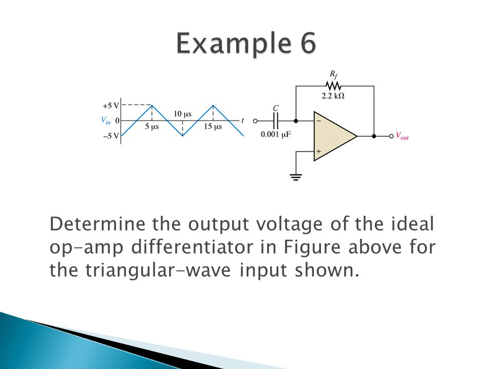 Determine the output voltage of the ideal op-amp differentiator in Figure above for the triangular-wave input shown.