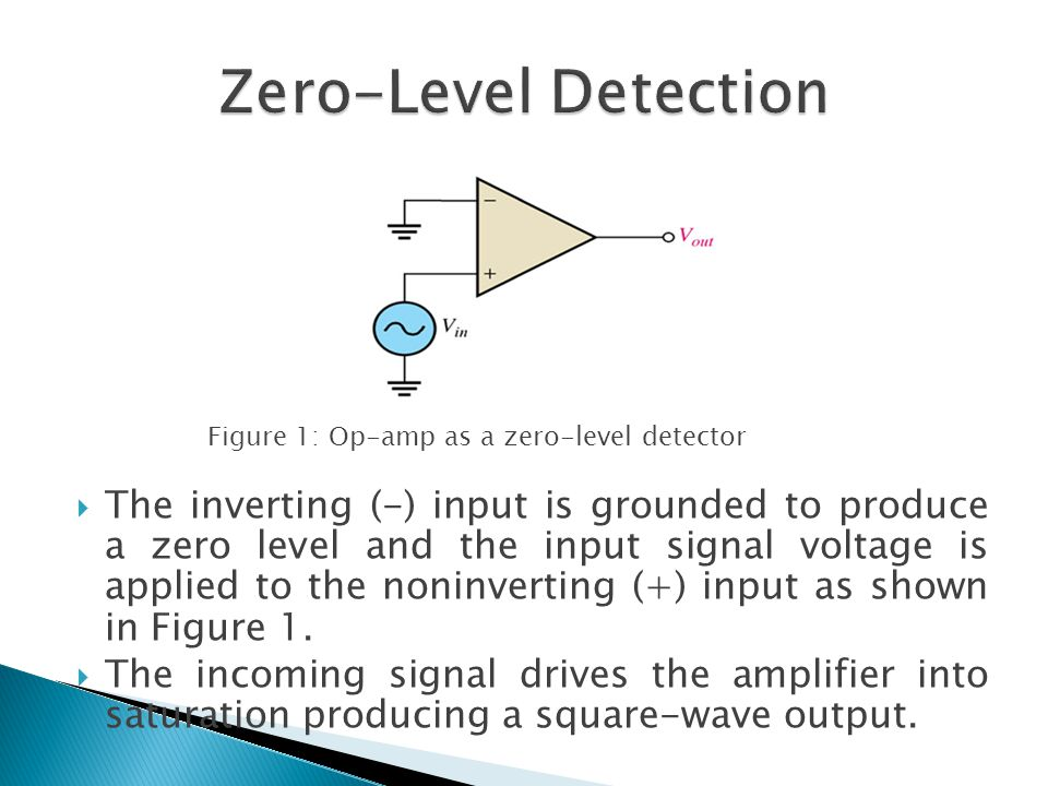  The inverting (-) input is grounded to produce a zero level and the input signal voltage is applied to the noninverting (+) input as shown in Figure 1.