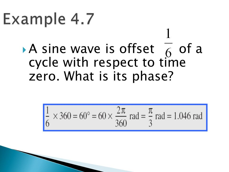  A sine wave is offset of a cycle with respect to time zero. What is its phase