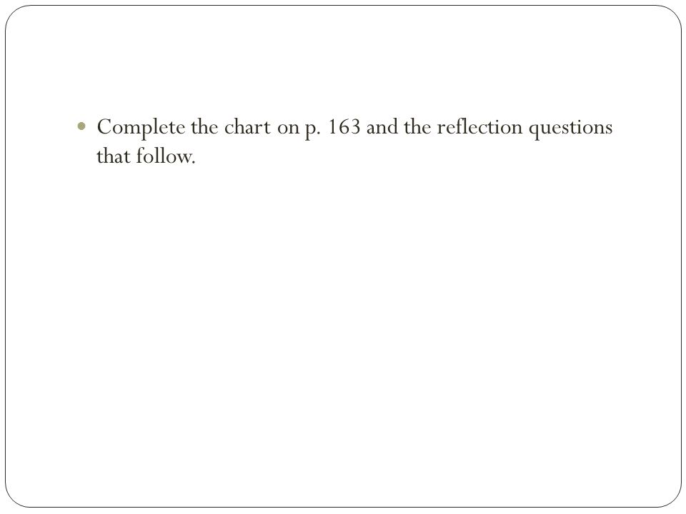 Complete the chart on p. 163 and the reflection questions that follow.