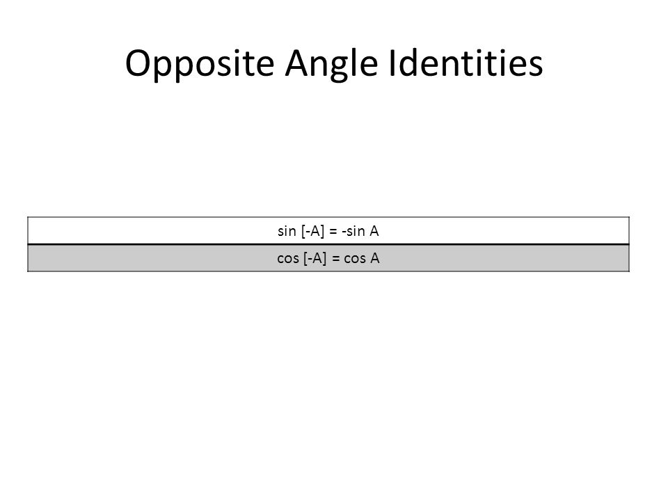 Opposite Angle Identities sin [-A] = -sin A cos [-A] = cos A