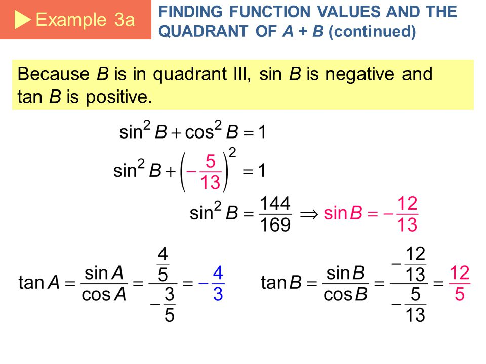 FINDING FUNCTION VALUES AND THE QUADRANT OF A + B (continued) Because B is in quadrant III, sin B is negative and tan B is positive.