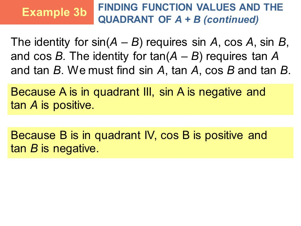 The identity for sin(A – B) requires sin A, cos A, sin B, and cos B.