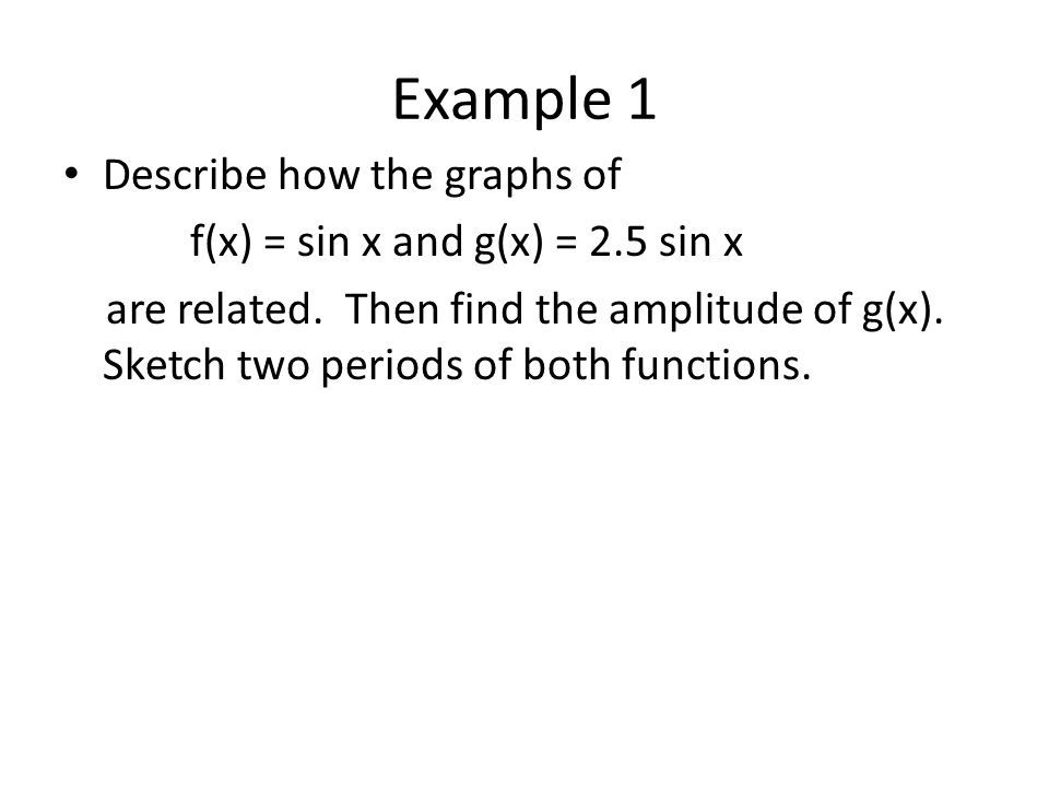 Example 2 Reflections Describe how f(x) = cos x and g(x) = -2cos x are related.