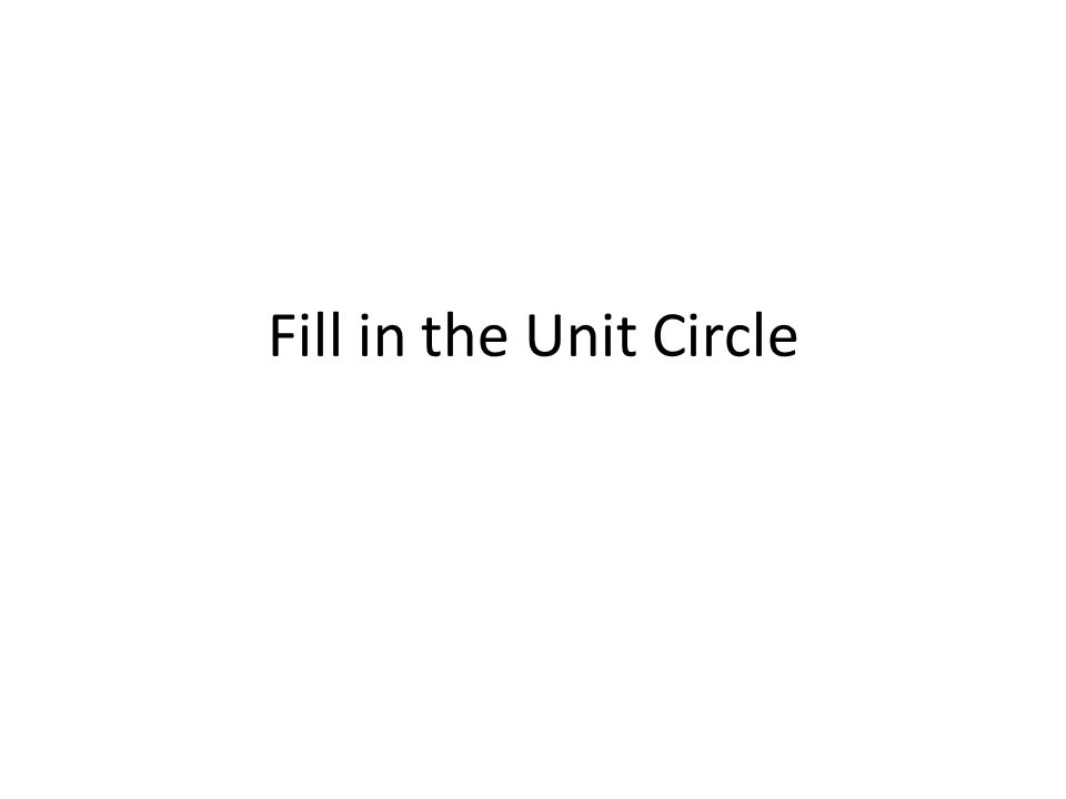 Fill in the Unit Circle