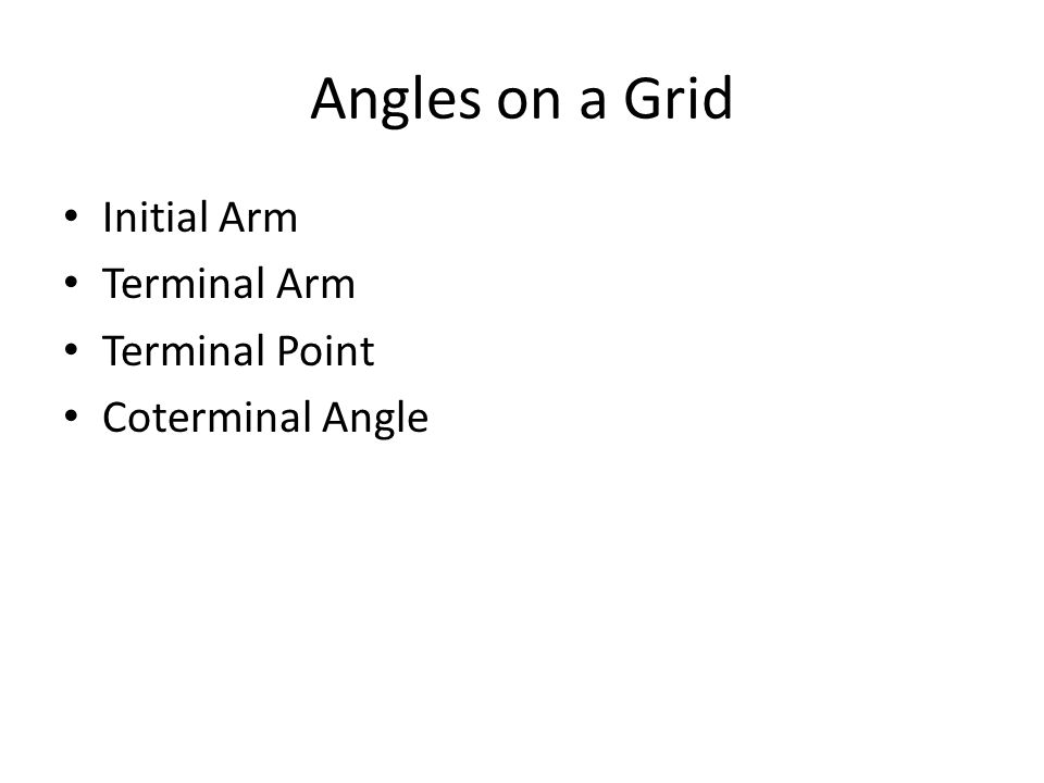 Angles on a Grid Initial Arm Terminal Arm Terminal Point Coterminal Angle