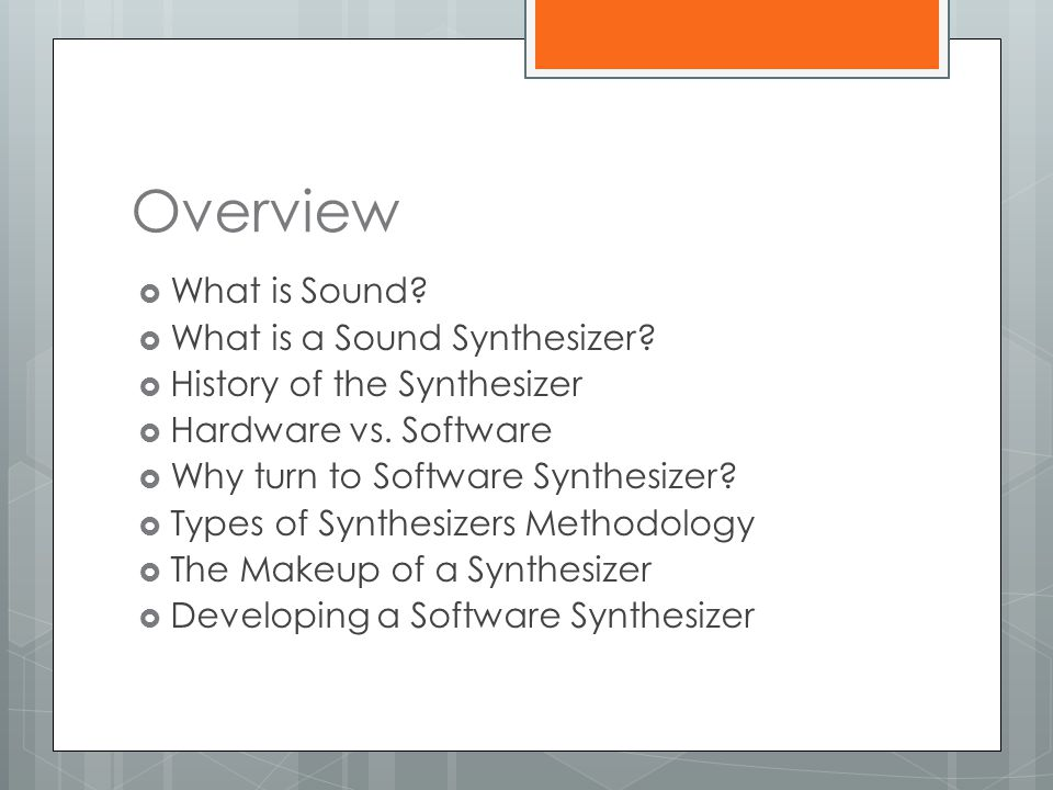 Developing a Software Synthesizer  Many programming languages have standard mathematics libraries with many of the trigonometric functions represented  Most basic computer synthesis methods follow this same general scheme: a formula or function is defined that accepts a sequence of values as input