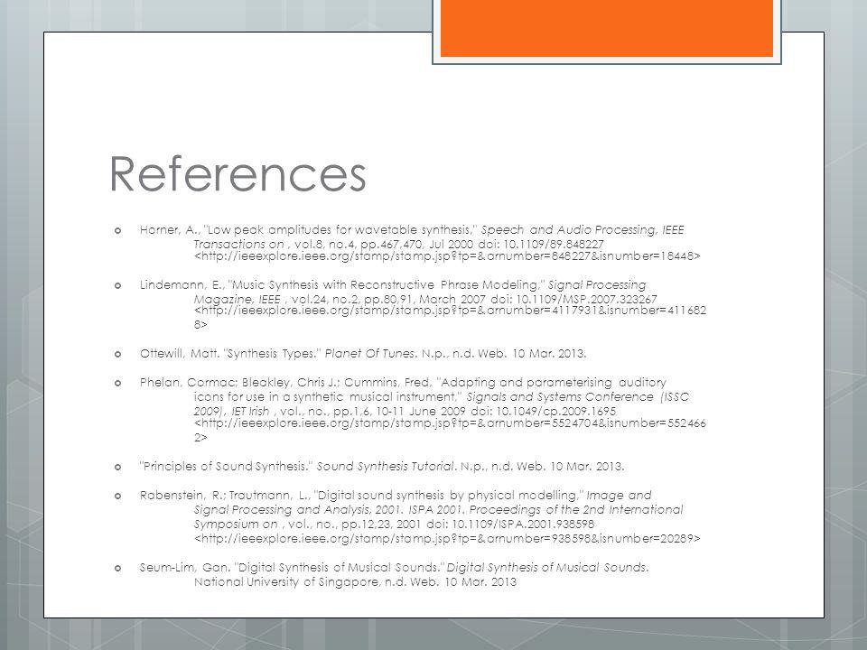 References  Horner, A.,