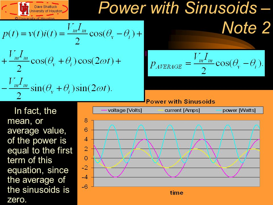 Power with Sinusoids – Note 2 In fact, the mean, or average value, of the power is equal to the first term of this equation, since the average of the