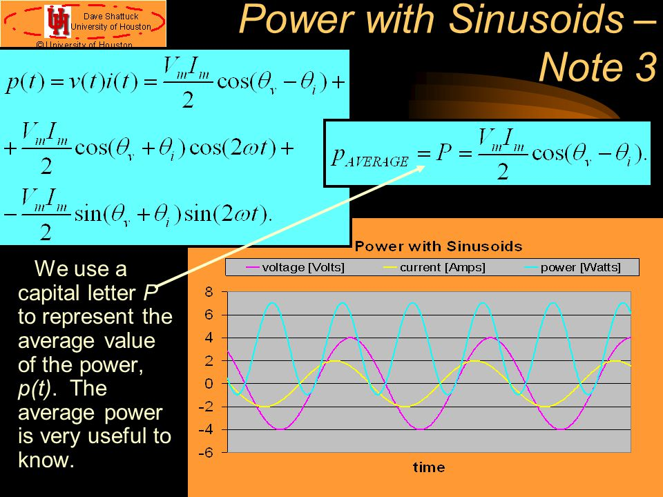 Power with Sinusoids – Note 3 We use a capital letter P to represent the average value of the power, p(t). The average power is very useful to know.