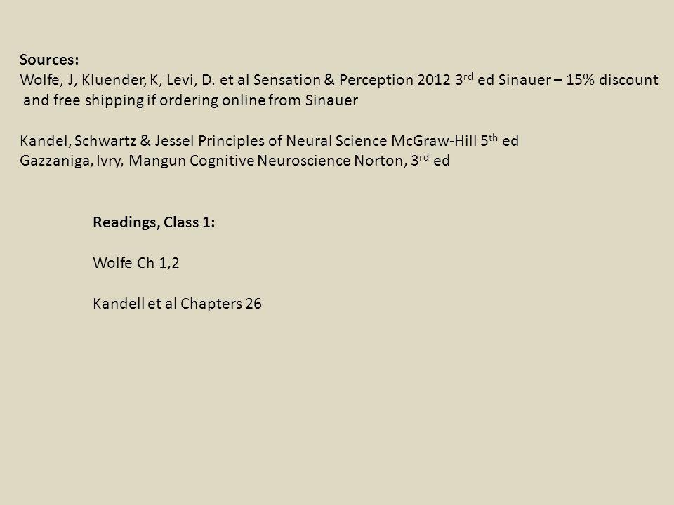 Readings, Class 1: Wolfe Ch 1,2 Kandell et al Chapters 26 Sources: Wolfe, J, Kluender, K, Levi, D. et al Sensation & Perception 2012 3 rd ed Sinauer –
