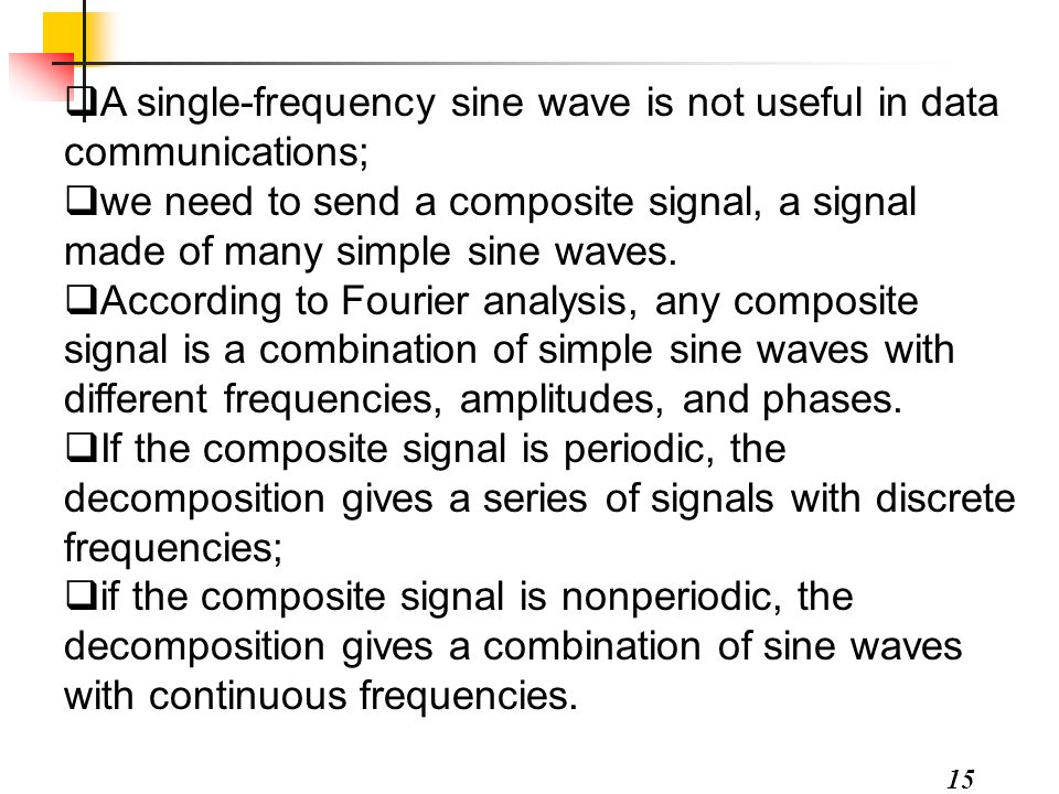 15  A single-frequency sine wave is not useful in data communications;  we need to send a composite signal, a signal made of many simple sine waves.