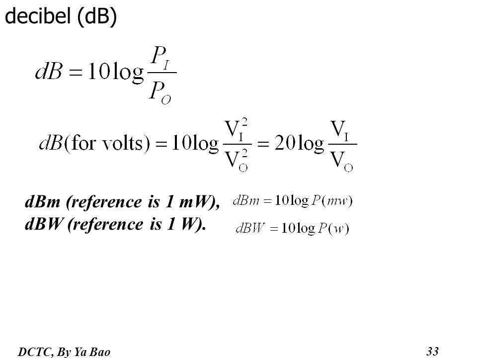 33 DCTC, By Ya Bao decibel (dB) dBm (reference is 1 mW), dBW (reference is 1 W).