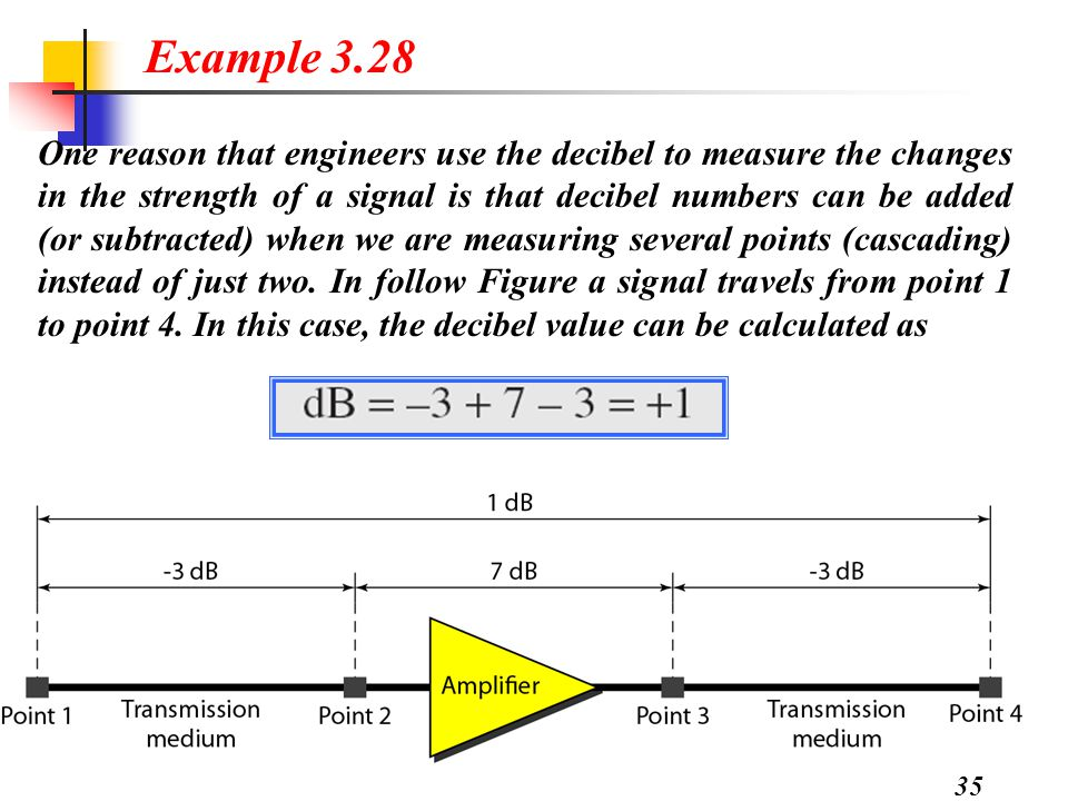 35 One reason that engineers use the decibel to measure the changes in the strength of a signal is that decibel numbers can be added (or subtracted) when we are measuring several points (cascading) instead of just two.