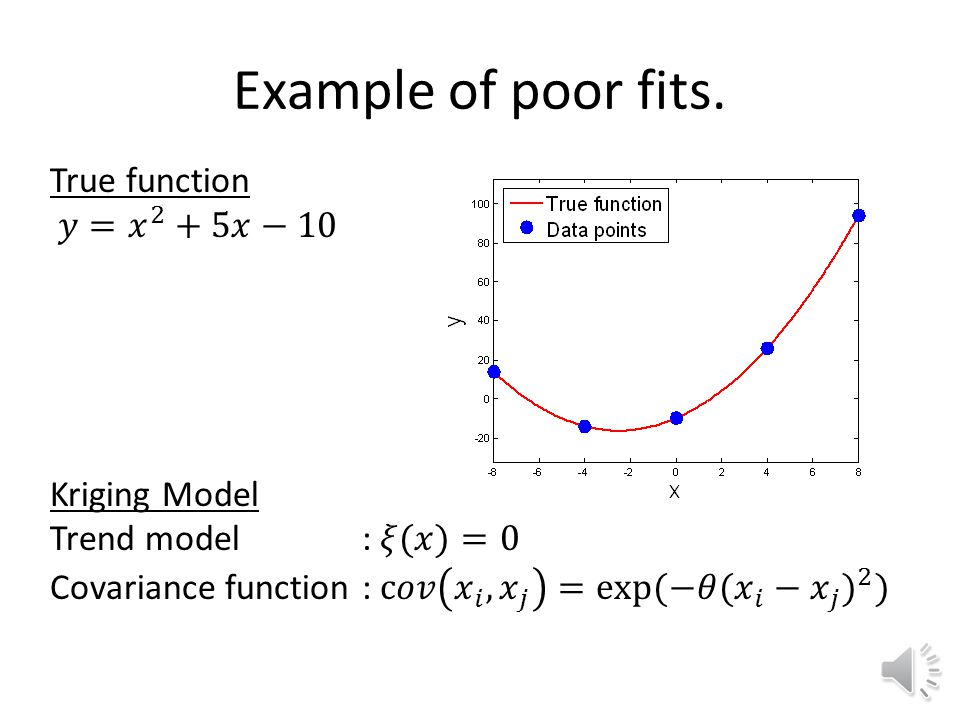 Kriging fitting problems The maximum likelihood or cross-validation optimization problem solved to obtain the kriging fit is often ill-conditioned leading to poor fit, or poor estimate of the prediction variance.