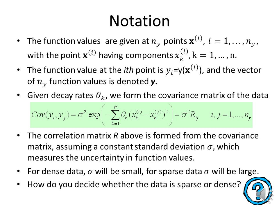 Linear trend function is most often a low order polynomial We will cover ordinary kriging, where linear trend is just a constant to be estimated by data.