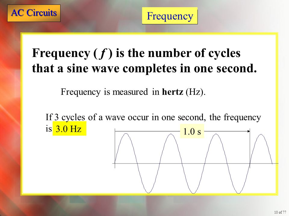 AC Circuits 10 of 77 3.0 Hz Frequency Frequency ( f ) is the number of cycles that a sine wave completes in one second. Frequency is measured in hertz